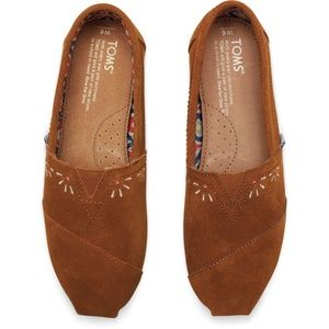 Toms Shoes - TOMS Brown Suede Embroidery Festival Classics 6.5